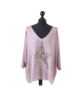 Italian Plain Frontside Glittery Star Batwing Knitted Lagenlook Top-Pink