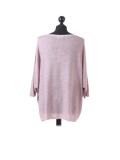 Italian Plain Frontside Glittery Star Batwing Knitted Lagenlook Top-Pink back