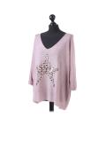 Italian Plain Frontside Glittery Star Batwing Knitted Lagenlook Top-Pink side