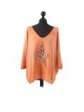 Italian Plain Frontside Glittery Star Batwing Knitted Lagenlook Top-Rust