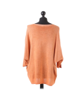 Italian Plain Frontside Glittery Star Batwing Knitted Lagenlook Top-Rust back