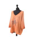 Italian Plain Frontside Glittery Star Batwing Knitted Lagenlook Top-Rust side