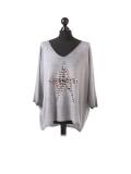 Italian Plain Frontside Glittery Star Batwing Knitted Lagenlook Top-Silver