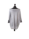 Italian Plain Frontside Glittery Star Batwing Knitted Lagenlook Top-Silver back
