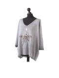 Italian Plain Frontside Glittery Star Batwing Knitted Lagenlook Top-Silver side