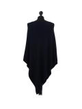Italian Plain Knitted Lagenlook Poncho-Black