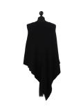 Italian Plain Knitted Lagenlook Poncho-Black back
