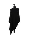 Italian Plain Knitted Lagenlook Poncho-Black side