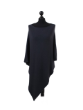 Italian Plain Knitted Lagenlook Poncho-Charcoal
