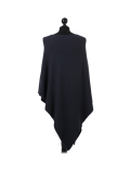 Italian Plain Knitted Lagenlook Poncho-Charcoal back