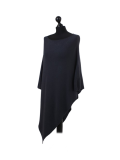 Italian Plain Knitted Lagenlook Poncho-Charcoal side