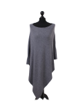 Italian Plain Knitted Lagenlook Poncho-dark grey