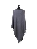 Italian Plain Knitted Lagenlook Poncho-dark grey back