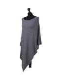 Italian Plain Knitted Lagenlook Poncho-dark grey side