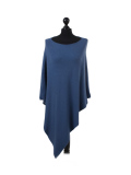 Italian Plain Knitted Lagenlook Poncho-Denim