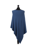 Italian Plain Knitted Lagenlook Poncho-Denim back