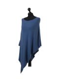 Italian Plain Knitted Lagenlook Poncho-Denim side