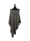 Italian Plain Knitted Lagenlook Poncho-Khaki