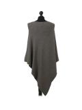 Italian Plain Knitted Lagenlook Poncho-Khaki back