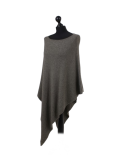 Italian Plain Knitted Lagenlook Poncho-Khaki side
