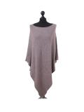 Italian Plain Knitted Lagenlook Poncho-Mocha