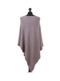Italian Plain Knitted Lagenlook Poncho-Mocha back