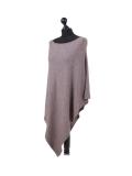 Italian Plain Knitted Lagenlook Poncho-Mocha side