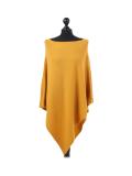 Italian Plain Knitted Lagenlook Poncho-Mustard