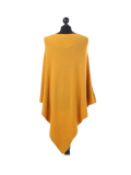 Italian Plain Knitted Lagenlook Poncho-Mustard back