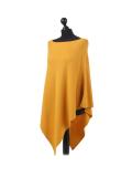 Italian Plain Knitted Lagenlook Poncho-Mustard side