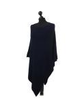 Italian Plain Knitted Lagenlook Poncho-Navy side
