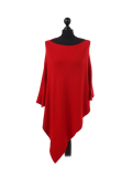 Italian Plain Knitted Lagenlook Poncho-Red