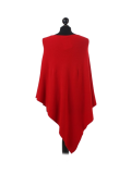 Italian Plain Knitted Lagenlook Poncho-Red back