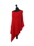 Italian Plain Knitted Lagenlook Poncho-Red side