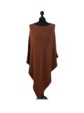 Italian Plain Knitted Lagenlook Poncho-Rust