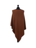 Italian Plain Knitted Lagenlook Poncho-Rust back