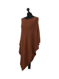Italian Plain Knitted Lagenlook Poncho-Rust side