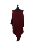 Italian Plain Knitted Lagenlook Poncho-Wine