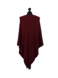 Italian Plain Knitted Lagenlook Poncho-Wine back