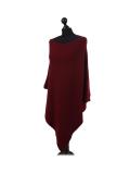 Italian Plain Knitted Lagenlook Poncho-Wine side