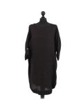 Italian Plain Round Hem Pocketed Linen Lagenlook Top-Black