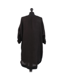 Italian Plain Round Hem Pocketed Linen Lagenlook Top-Black back