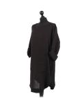 Italian Plain Round Hem Pocketed Linen Lagenlook Top-Black side
