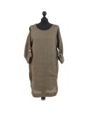 Italian Plain Round Hem Pocketed Linen Lagenlook Top-Khaki
