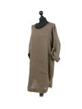 Italian Plain Round Hem Pocketed Linen Lagenlook Top-Khaki side