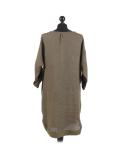 Italian Plain Round Hem Pocketed Linen Lagenlook Top-Khaki back