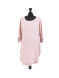 Italian Plain Round Hem Pocketed Linen Lagenlook Top-Pink