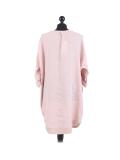 Italian Plain Round Hem Pocketed Linen Lagenlook Top-Pink back