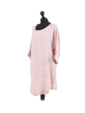 Italian Plain Round Hem Pocketed Linen Lagenlook Top-Pink side