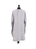Italian Plain Round Hem Pocketed Linen Lagenlook Top-Silver back
